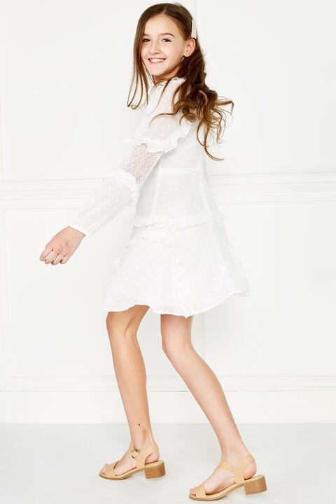 MIMI DOBBY DRESS in colour CLOUD DANCER