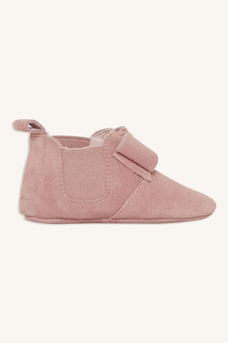 SUEDE BOW BABY BOOTIE in colour DUSTY PINK