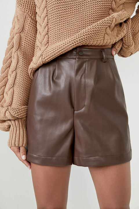 JACINTA VEGAN LEATHER SHORT  in colour CHOCOLATE BROWN