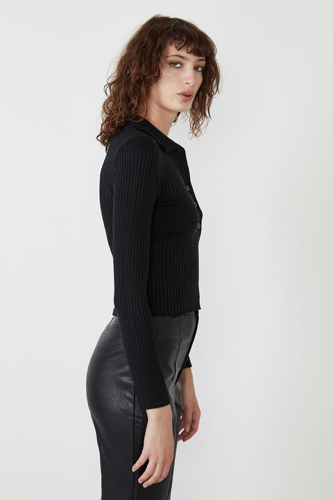 ESTELLE KNIT TOP  in colour CAVIAR