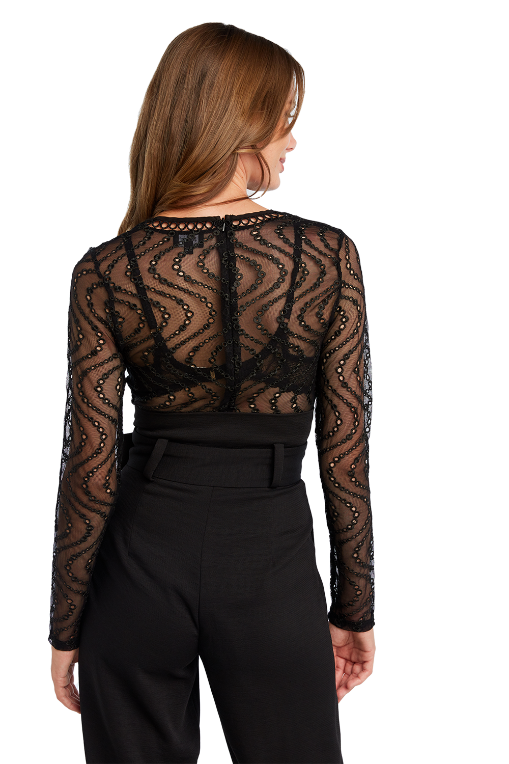 WAVE MESH BODYSUIT in colour CAVIAR