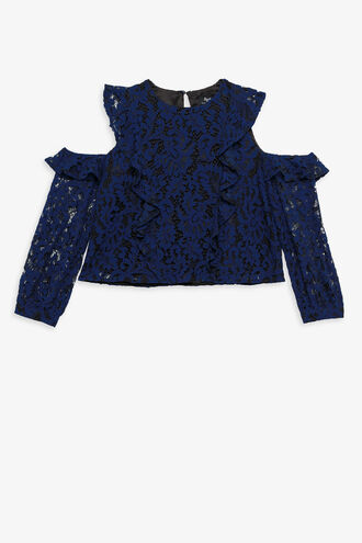 LACE RUFFLE TOP in colour MAZARINE BLUE