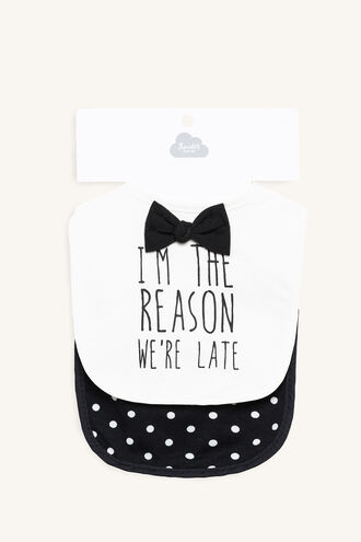 I AM THE REASON WE ARE LATE BIB SET in colour METEORITE