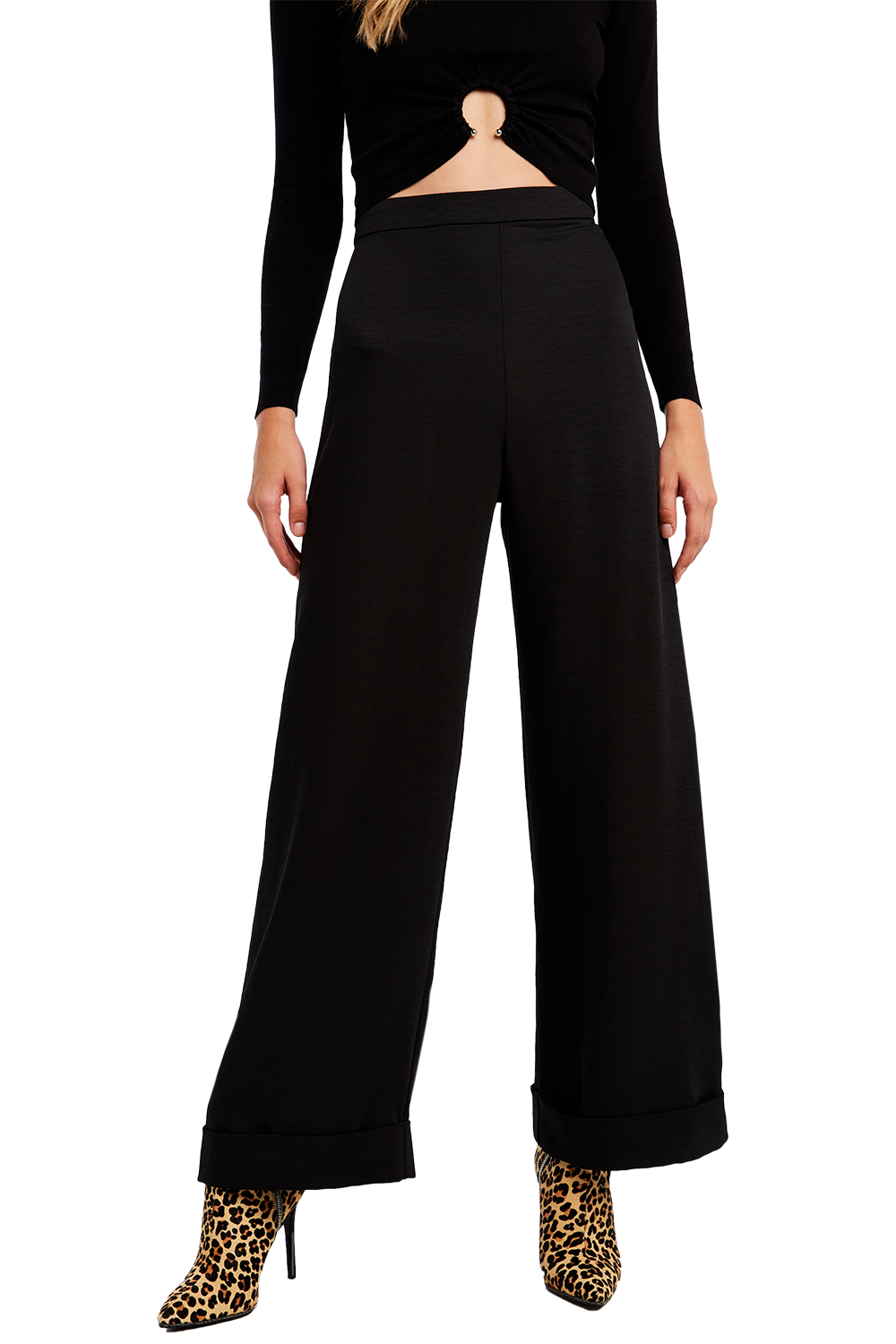 HIGH WAIST CUFF PANT in colour CAVIAR