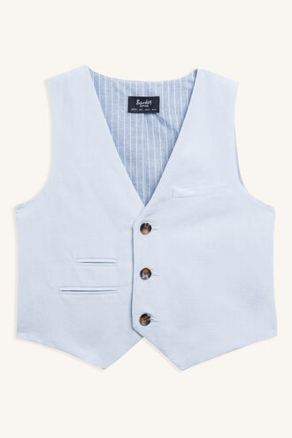 MILES LINEN VEST in colour ILLUSION BLUE