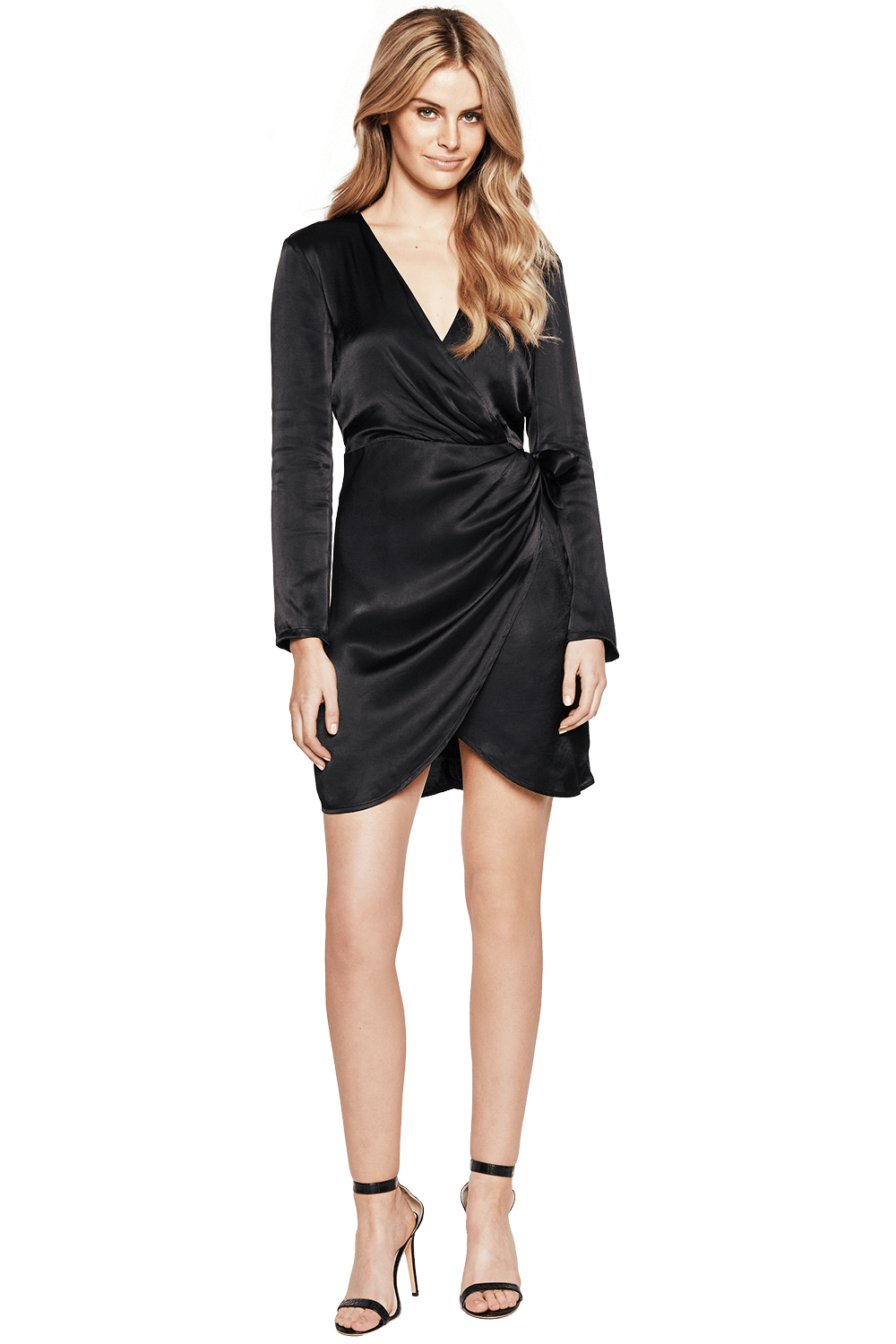 WRAP TIE DRESS in colour JET BLACK