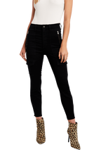 SIENNA BLACK BIKER JEAN in colour CAVIAR