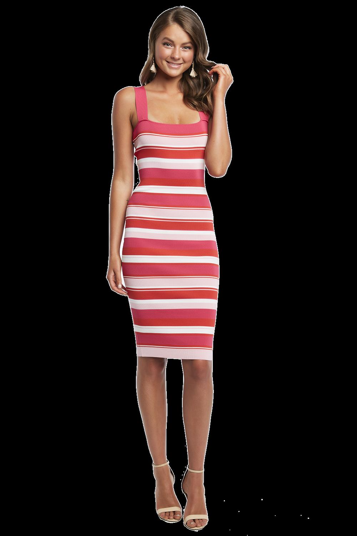 MULTI STRIPE DRESS in colour FUCHSIA PURPLE