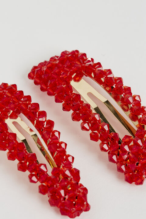 RED CRYSTAL PEARL CLIPS in colour FIESTA