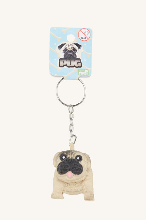 PUG KEY CHAIN in colour MOCHA BISQUE