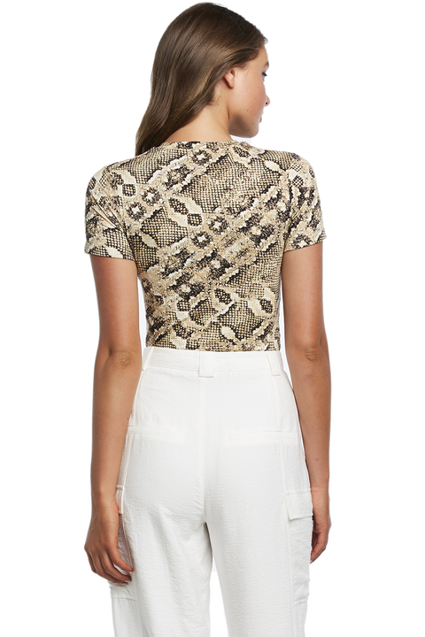 SNAKE PRINT TSHIRT in colour EGRET