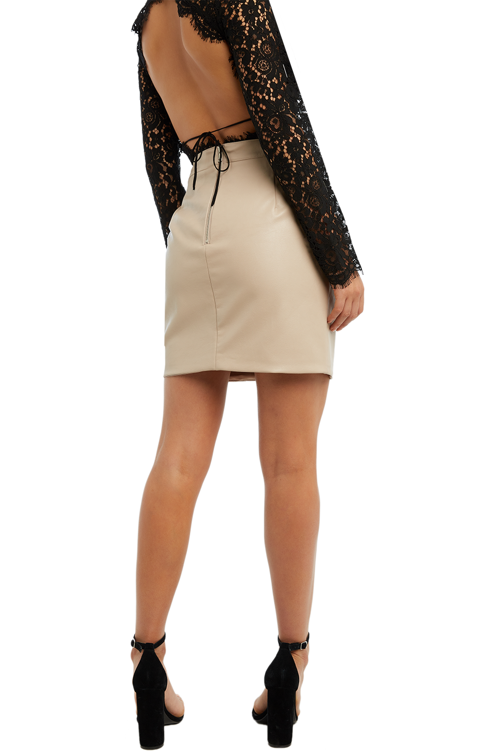 ALEXIS LEATHER SKIRT in colour RUGBY TAN