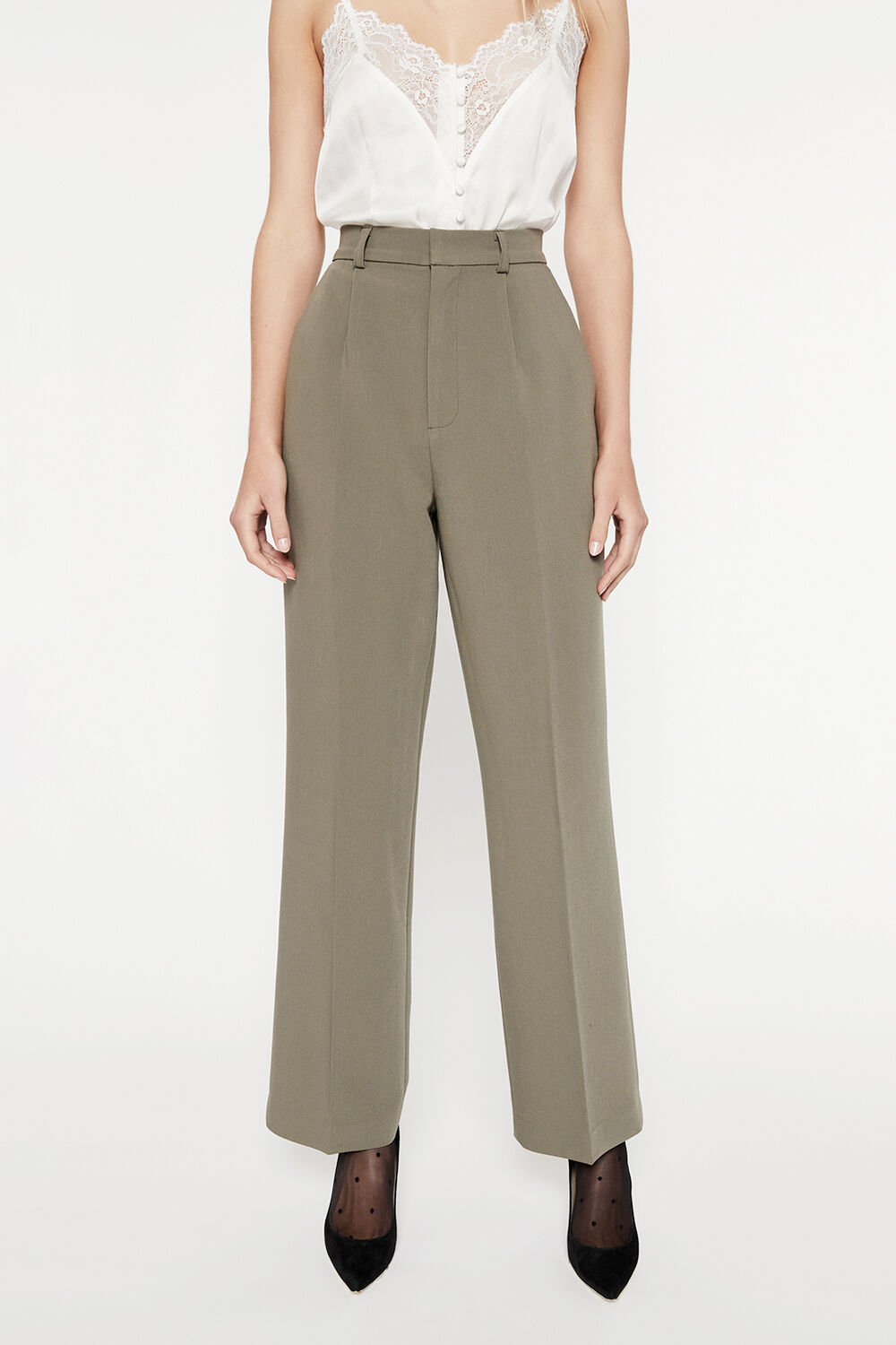 MAISON STRAIGHT LEG PANT in colour IVY GREEN