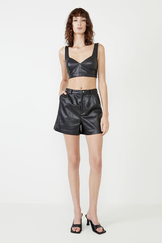 JACINTA VEGAN LEATHER SHORT in colour CAVIAR