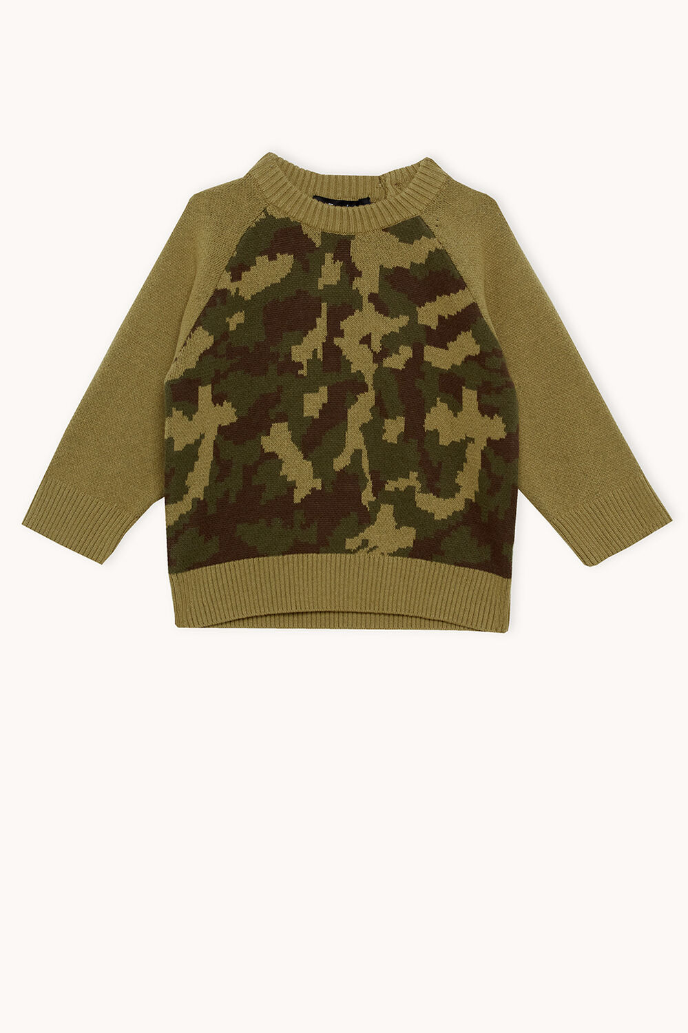 CAMO KNIT SWEATER in colour BURNT OLIVE