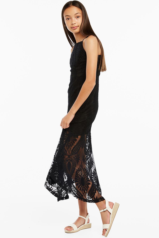 SARA MESH DRESS in colour CAVIAR