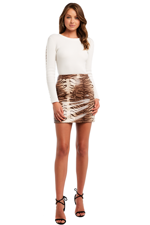 ALEXIS ANIMAL SKIRT in colour CAVIAR