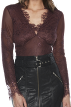 LACE BODY SUIT in colour WINETASTING