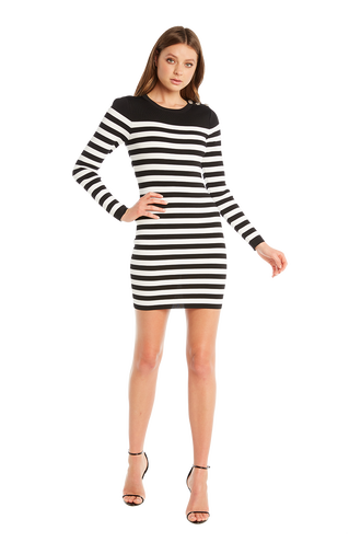 STRIPE BUTTON DRESS in colour CAVIAR