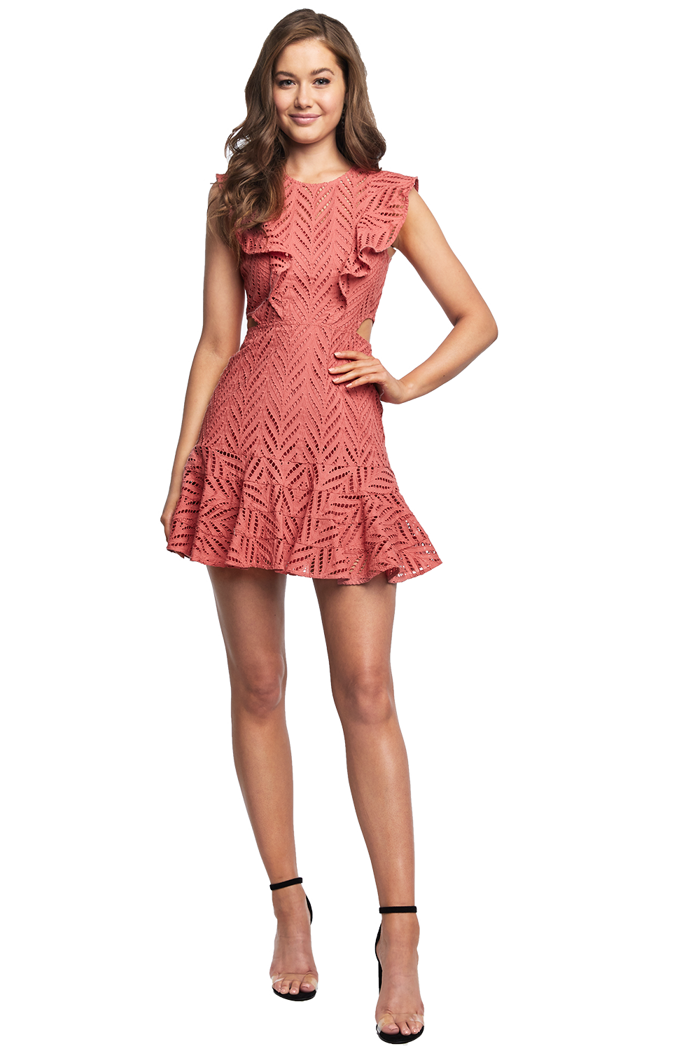 ARIA LACE DRESS in colour CANYON ROSE