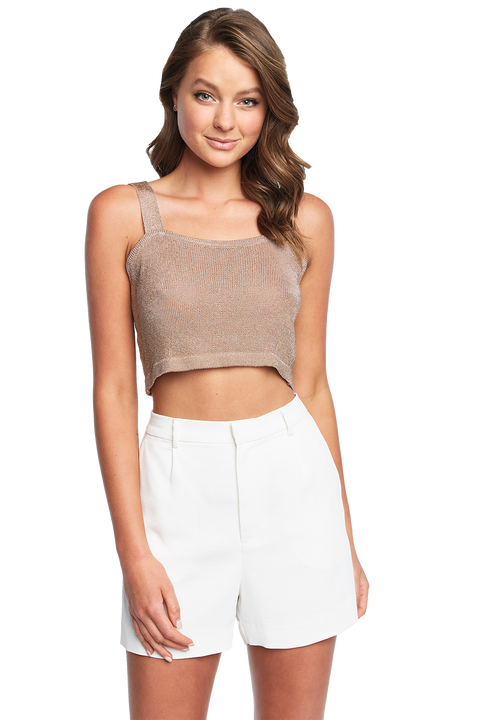 LUREX KNIT TOP in colour CARAMEL