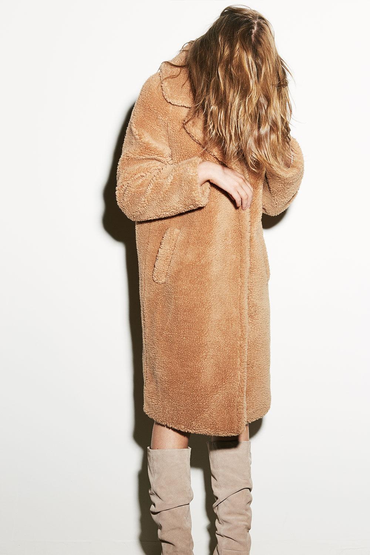 TEDDY LONG COAT in colour ALMOND