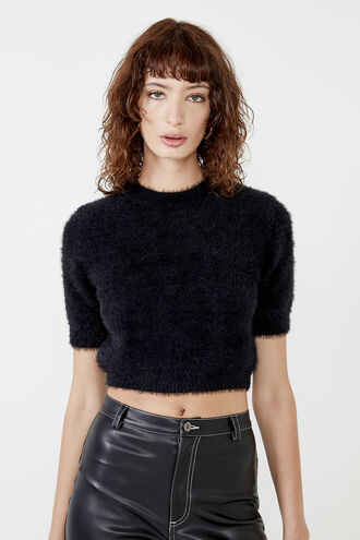 FLUFFY KNIT TEE in colour CAVIAR