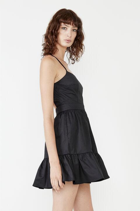 BACKLESS MINI POPLIN DRESS in colour CAVIAR