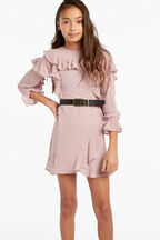 INDI RUFFLE DRESS in colour GRAY LILAC