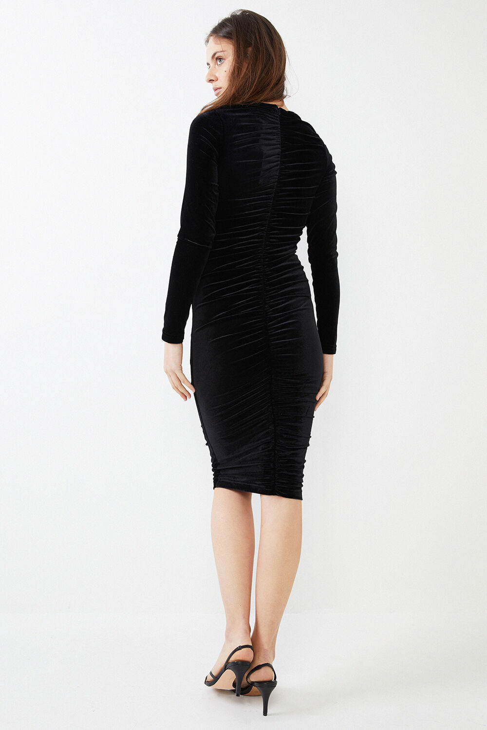 KAREN VELVET DRESS in colour CAVIAR