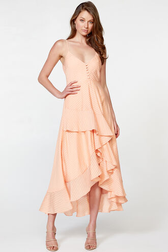 SARA FRILL DRESS in colour PALE PEACH