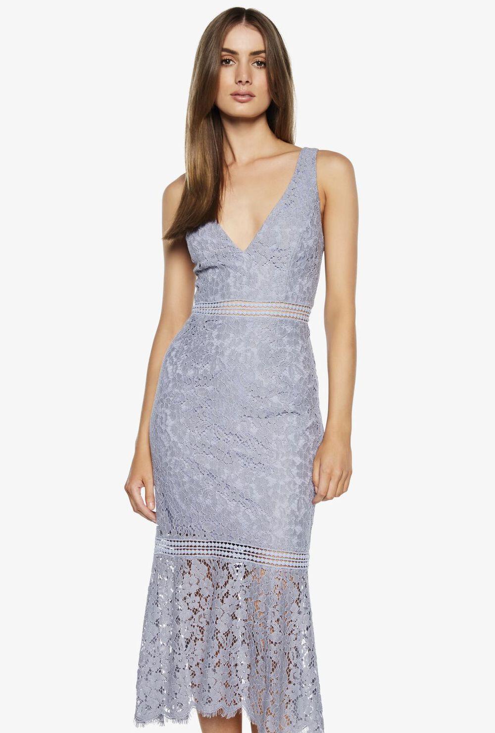 SIENNA TRUMPET DRESS. in colour MAJOLICA BLUE
