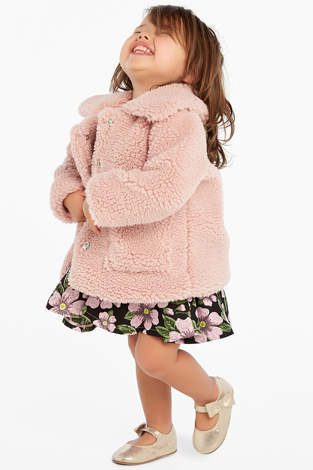 FLORENCE TEDDY COAT in colour SILVER PINK