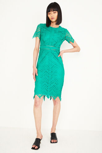LOREN LACE DRESS in colour DARK GREEN