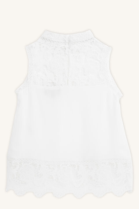 SKYLER LACE TRIM TOP in colour CLOUD DANCER