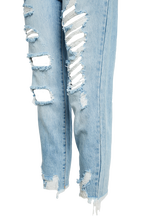 THE MUM JEAN in colour DUSTY BLUE