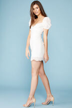 CHRISTIE MINI DRESS in colour CLOUD DANCER
