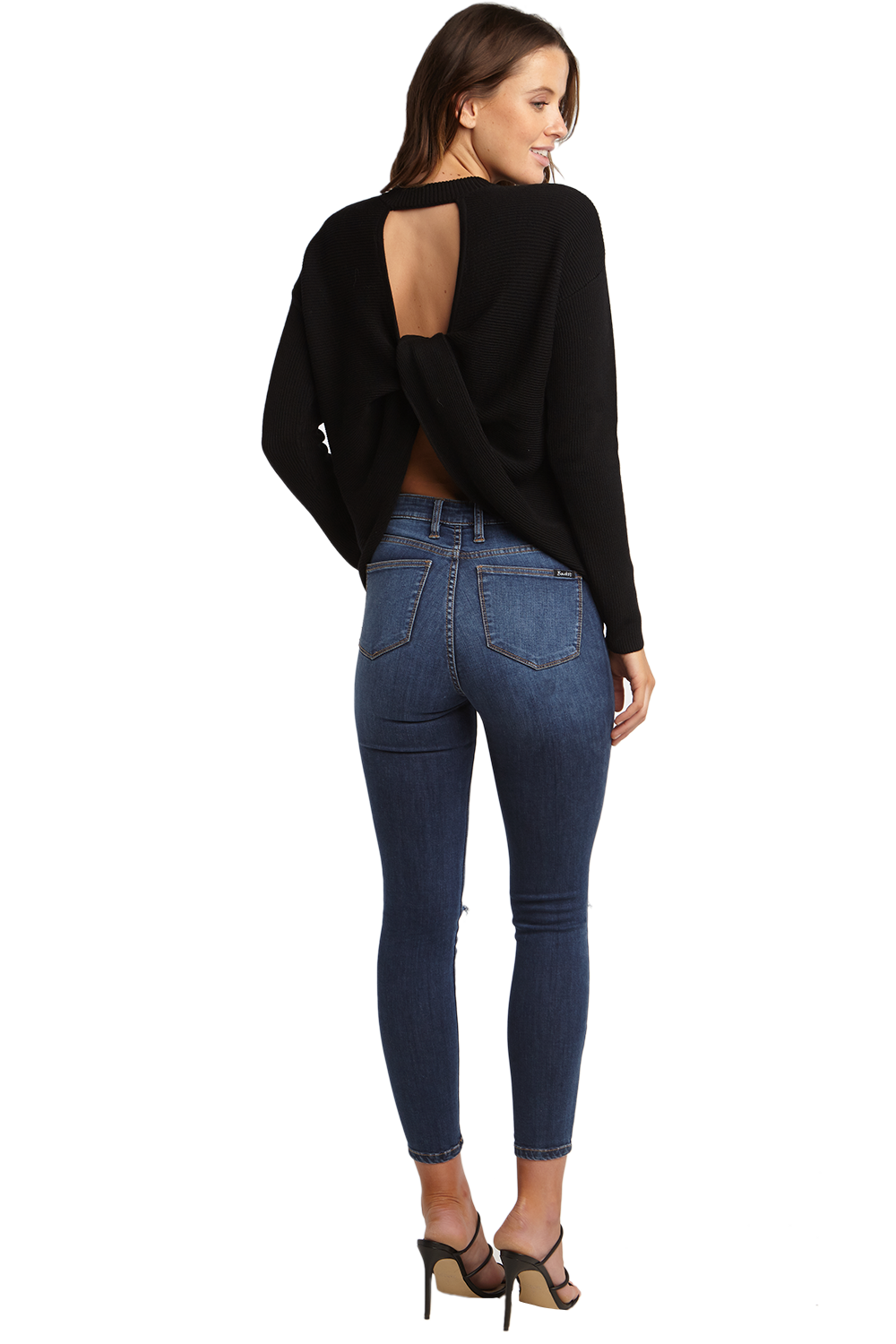 TWIST BACK JUMPER in colour CAVIAR