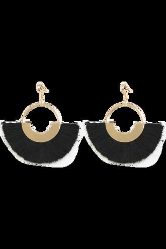 FRINGED HOOP EARRINGS in colour METEORITE