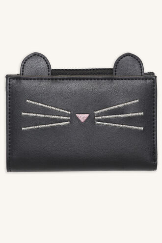 CAT FACE FOLDOVER WALLET in colour METEORITE