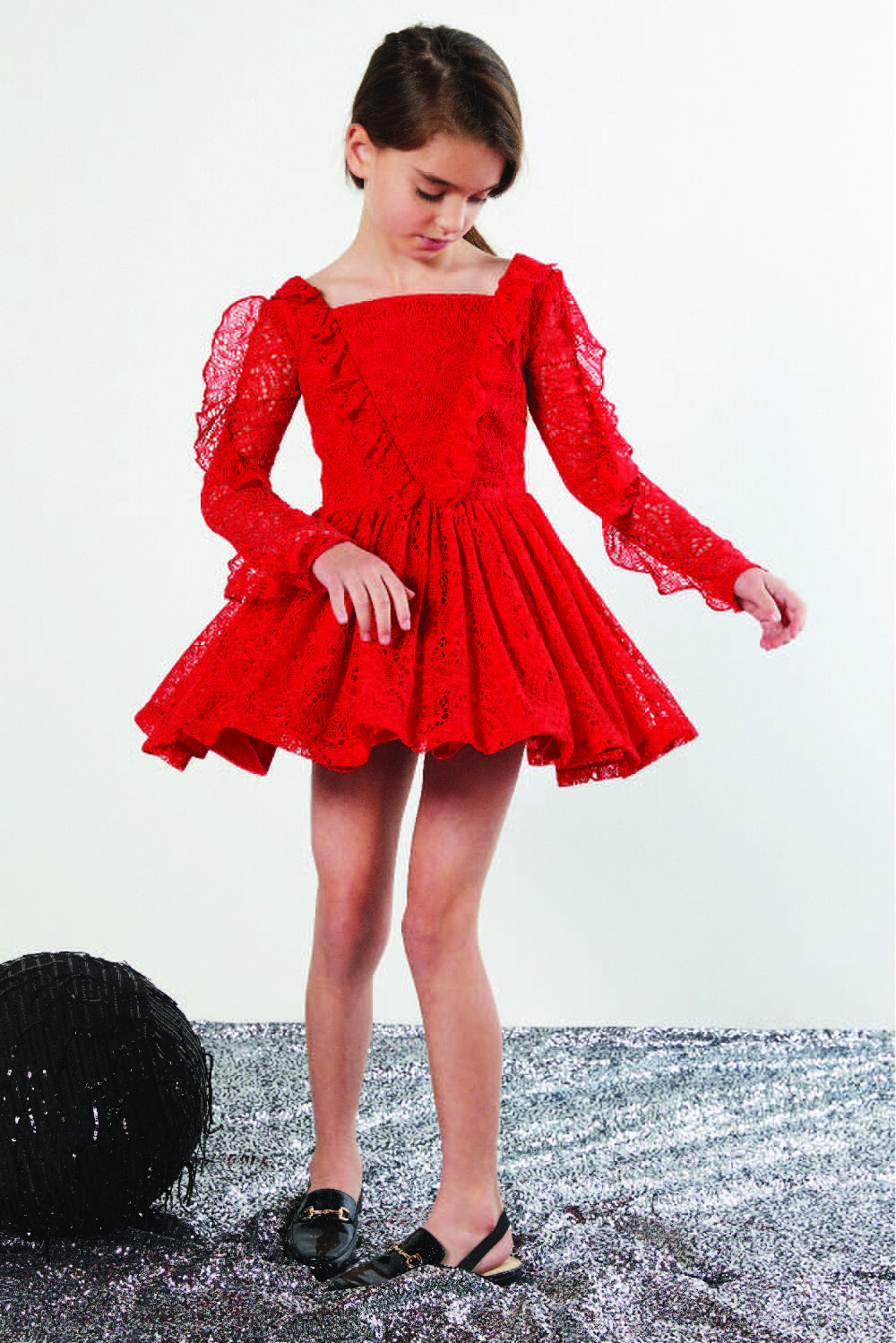 TWEEN GIRL VERA LACE DRESS in colour HIGH RISK RED
