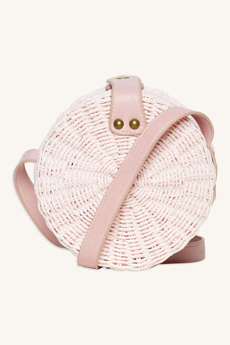 ROUND STRAW HIP BAG in colour IMPATIENS PINK
