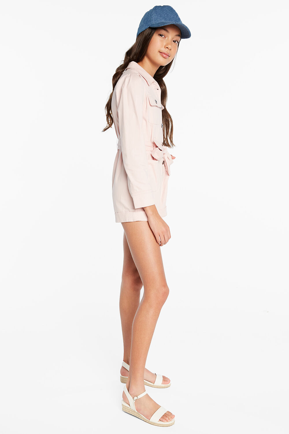 RAE UTILITY PLAYSUIT in colour PRIMROSE PINK