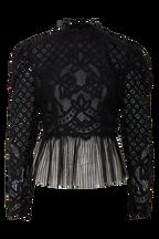 TINA LACE TOP in colour CAVIAR