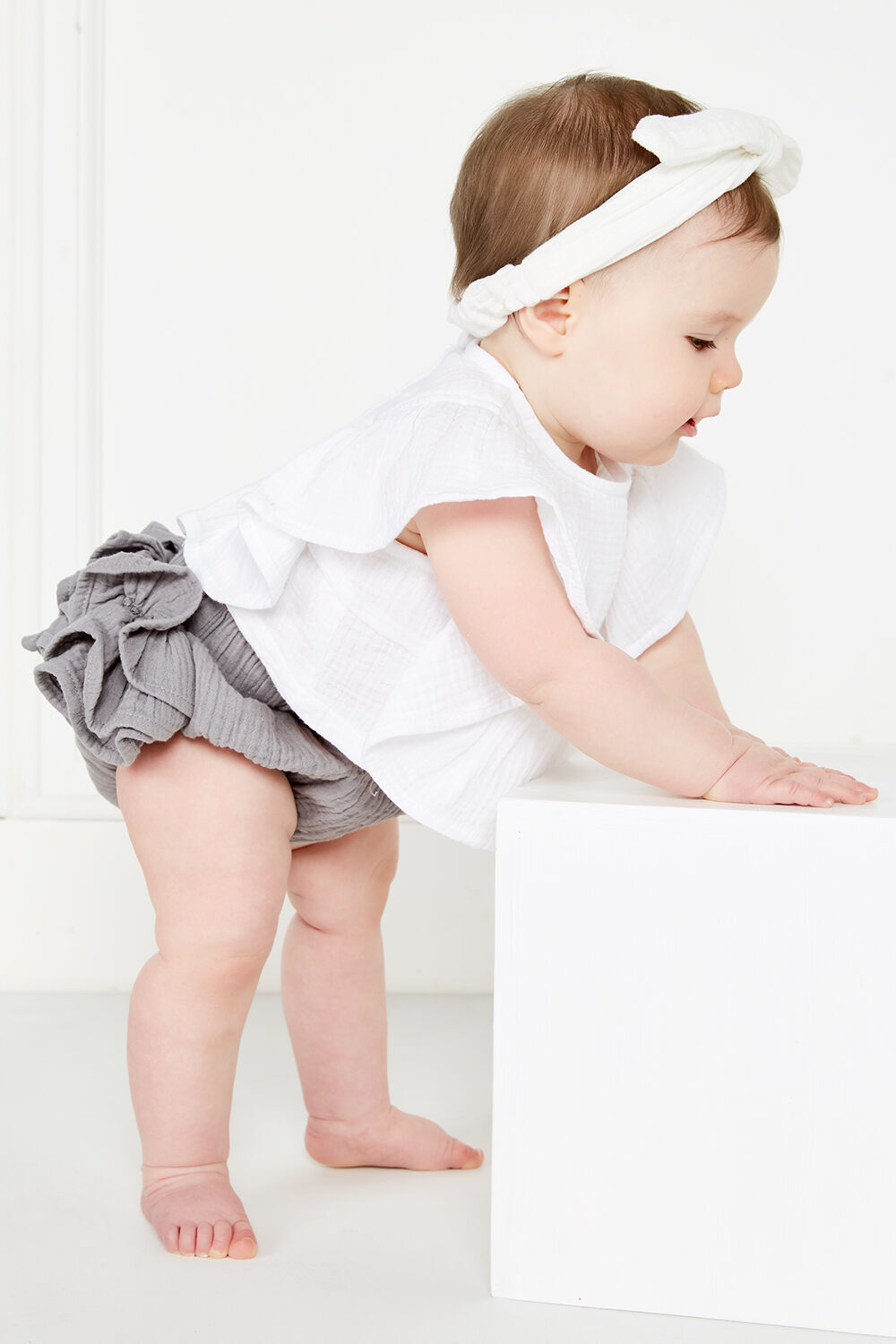 RUFFLE BUM BLOOMER in colour PEWTER