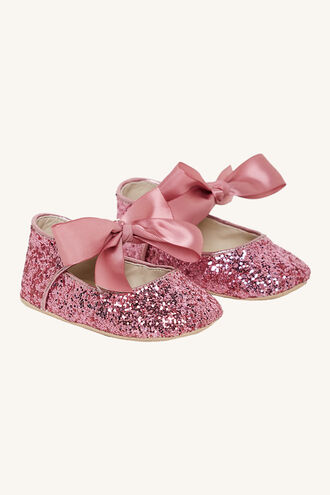 GLITTER BABY SHOE in colour PINK CARNATION