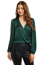 HALEY WRAP TOP in colour DARK GREEN