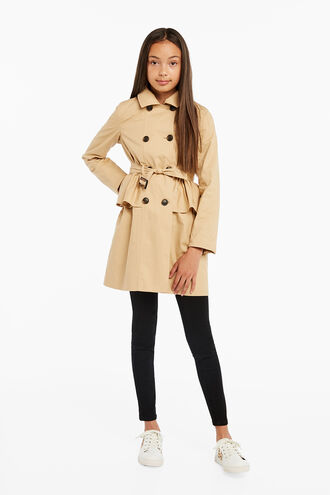 SOPHIA RUFFLE TRENCH in colour TAPIOCA