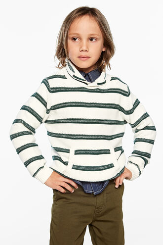 SHAWL STRIPE JUMPER in colour SYCAMORE
