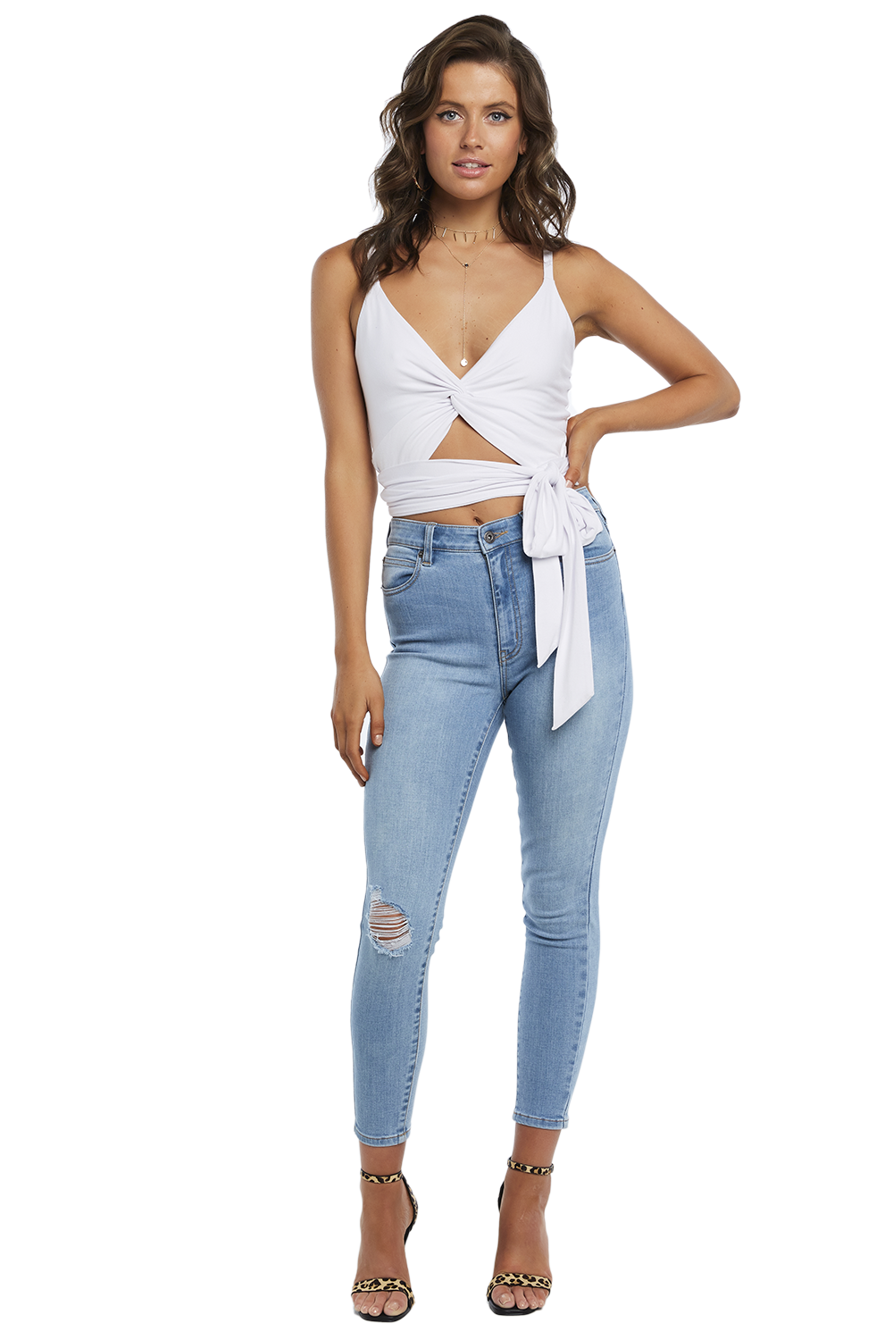 TWIST TIE CAMI TOP in colour BRIGHT WHITE